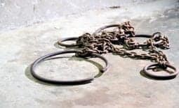Shackles on convict ship
