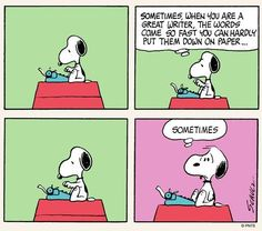 Snoopy has writer's block